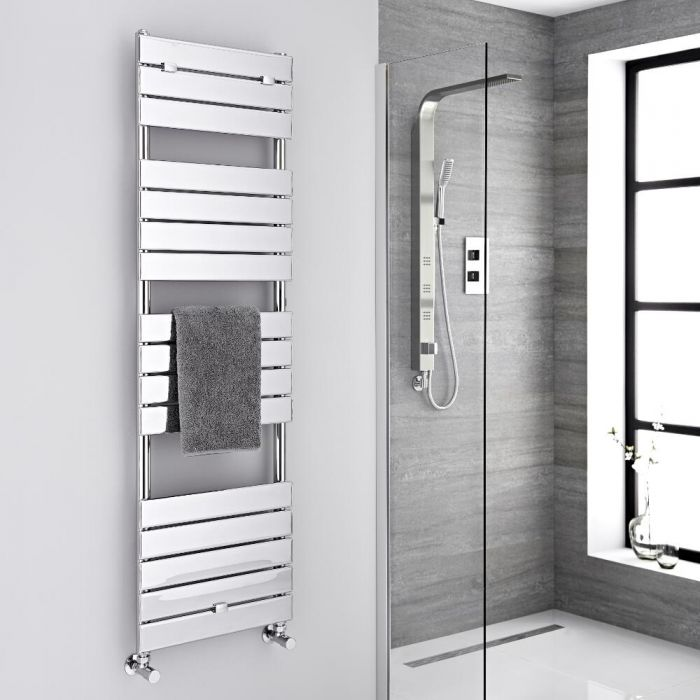 Milano Lustro - Chrome Flat Panel Designer Heated Towel Rail - 1512mm x 450mm