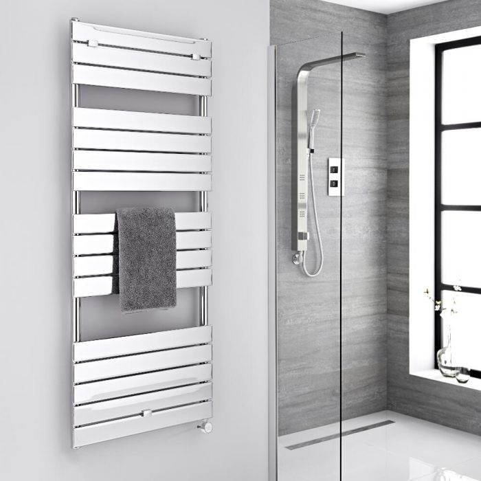 Milano Lustro Electric - Chrome Flat Panel Designer Heated Towel Rail - 1512mm x 600mm