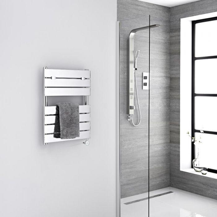Milano Lustro Electric - Chrome Flat Panel Designer Heated Towel Rail - 620mm x 450mm