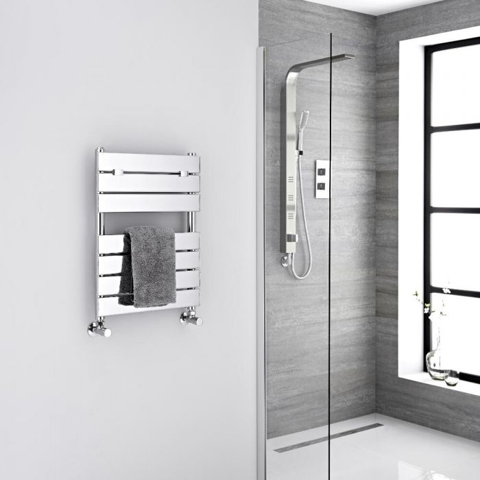 Milano Lustro - Chrome Flat Panel Designer Heated Towel Rail - 620mm x 450mm