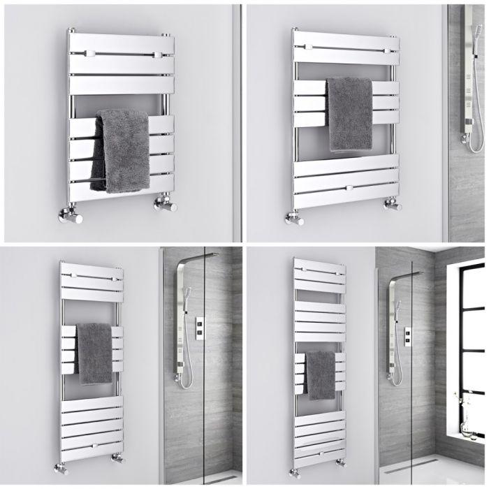 Milano Lustro - Chrome Flat Panel Designer Heated Towel Rail - Choice of Size