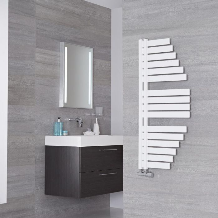 Lazzarini Way Spinnaker - Mineral White Designer Heated Towel Rail - 1100mm x 483mm