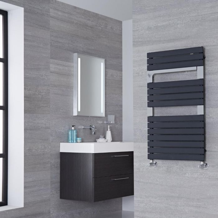 Lazzarini Way Torino - Anthracite Designer Heated Towel Rail - 952mm x 550mm