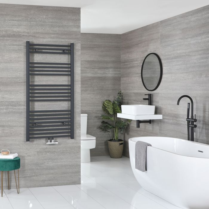 Milano Neva - Anthracite Central Connection Heated Towel Rail - 1188mm x 500mm
