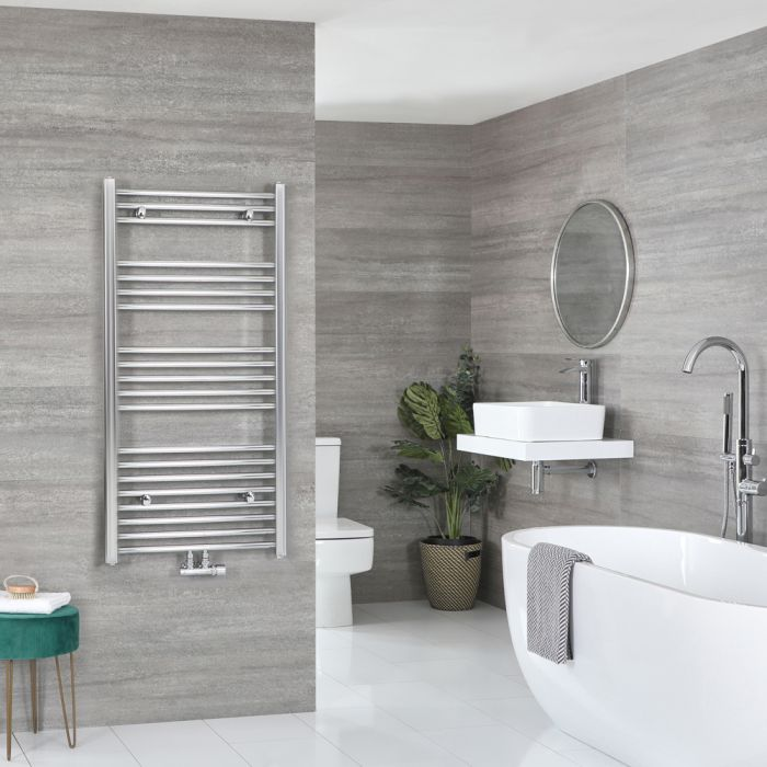 Milano Neva - Chrome Central Connection Heated Towel Rail - 1188mm x 500mm