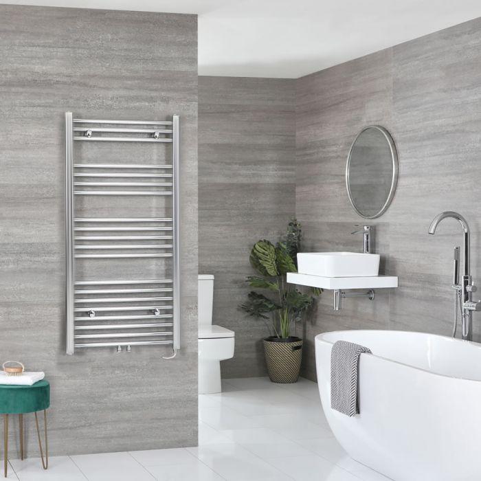 Milano Neva Electric - Chrome Heated Towel Rail - 1188mm x 500mm