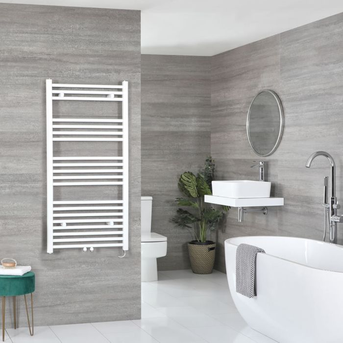 Milano Neva Electric - White Heated Towel Rail - 1188mm x 500mm