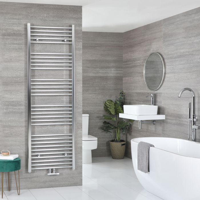 Milano Neva - Chrome Central Connection Heated Towel Rail - 1785mm x 500mm