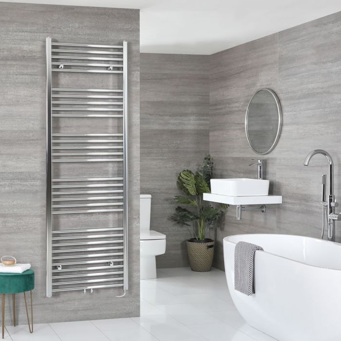 Milano Neva Electric - Chrome Heated Towel Rail - 1785mm x 500mm