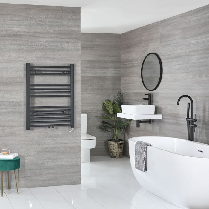 Milano Neva Electric - Anthracite Heated Towel Rail - 803mm x 500mm