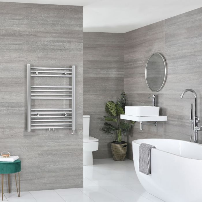 Milano Neva Electric - Chrome Heated Towel Rail - 803mm x 500mm