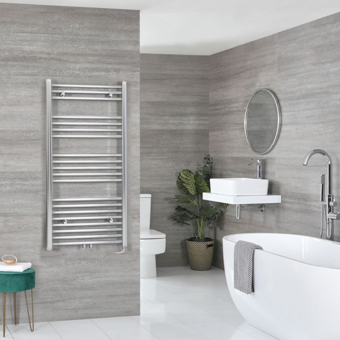 Milano Neva Electric - Chrome Heated Towel Rail - 1188mm x 600mm