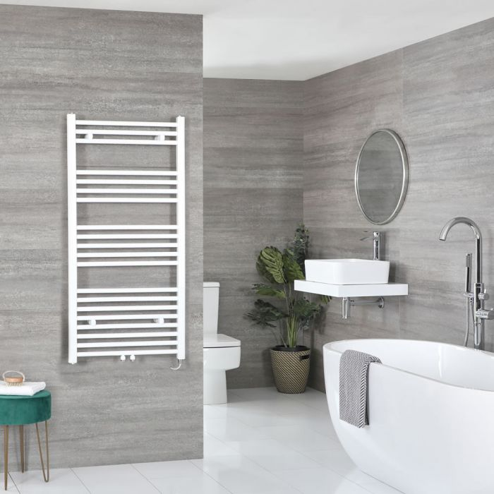 Milano Neva Electric - White Heated Towel Rail - 1188mm x 600mm