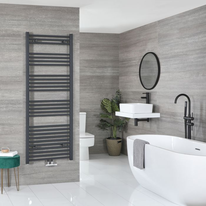 Milano Neva - Anthracite Central Connection Heated Towel Rail - 1600mm x 600mm