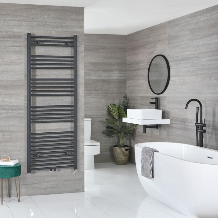 Milano Neva Electric - Anthracite Heated Towel Rail - 1600mm x 600mm