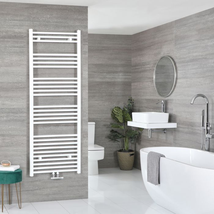 Milano Neva - White Central Connection Heated Towel Rail - 1600mm x 600mm