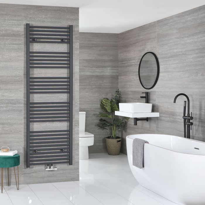 Milano Neva - Anthracite Central Connection Heated Towel Rail - 1785mm x 600mm