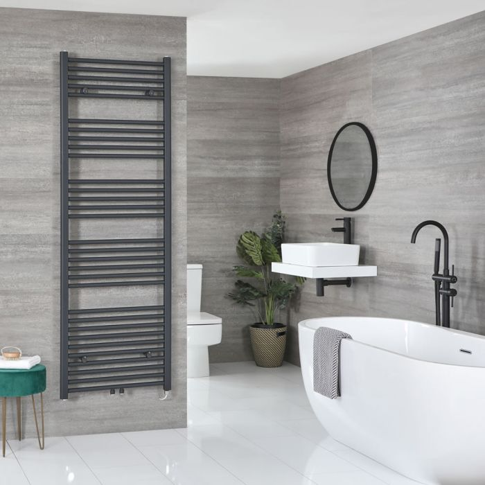 Milano Neva Electric - Anthracite Heated Towel Rail - 1785mm x 600mm