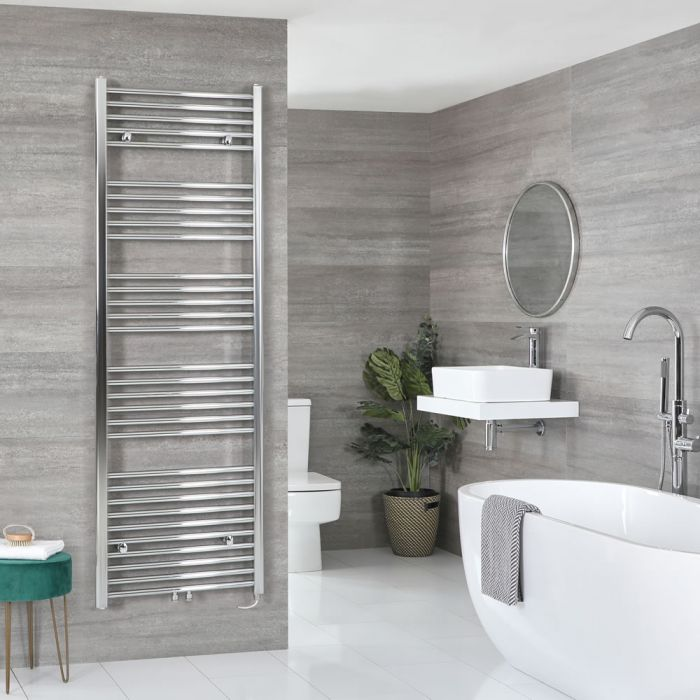 Milano Neva Electric - Chrome Heated Towel Rail - 1785mm x 600mm
