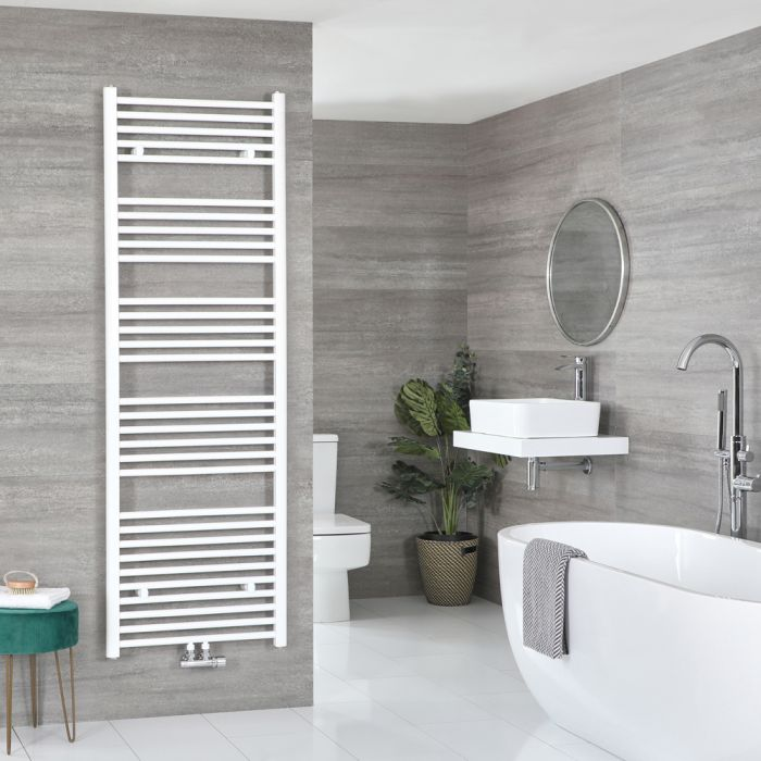 Milano Neva - White Central Connection Heated Towel Rail - 1785mm x 600mm