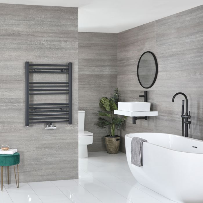 Milano Neva - Anthracite Central Connection Heated Towel Rail - 803mm x 600mm