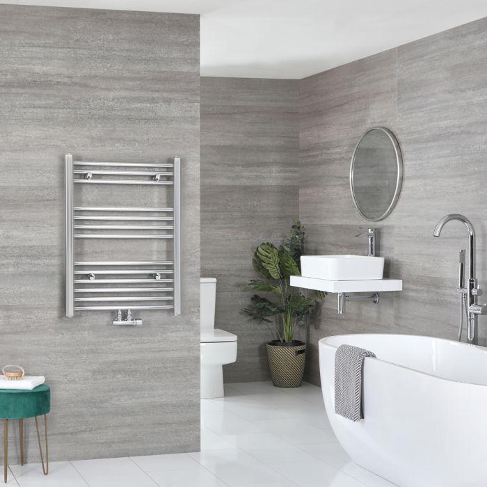 Milano Neva - Chrome Central Connection Heated Towel Rail - 803mm x 600mm