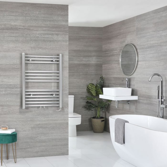 Milano Neva Electric - Chrome Heated Towel Rail - 803mm x 600mm