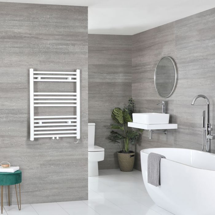 Milano Neva Electric - White Heated Towel Rail - 803mm x 600mm