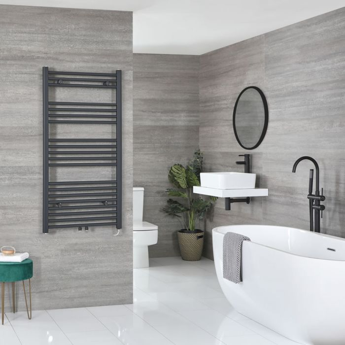 Milano Neva Electric - Anthracite Heated Towel Rail - 1188mm x 600mm