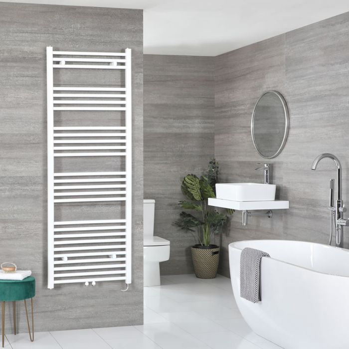 Milano Neva Electric - White Heated Towel Rail - 1600mm x 600mm