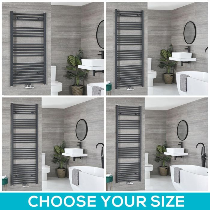 Milano Neva - Anthracite Central Connection Heated Towel Rail - Choice of Size