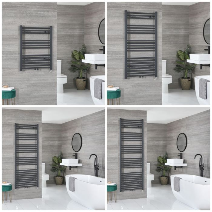 Milano Neva Electric - Anthracite Heated Towel Rail - Choice of Size and Heating Element