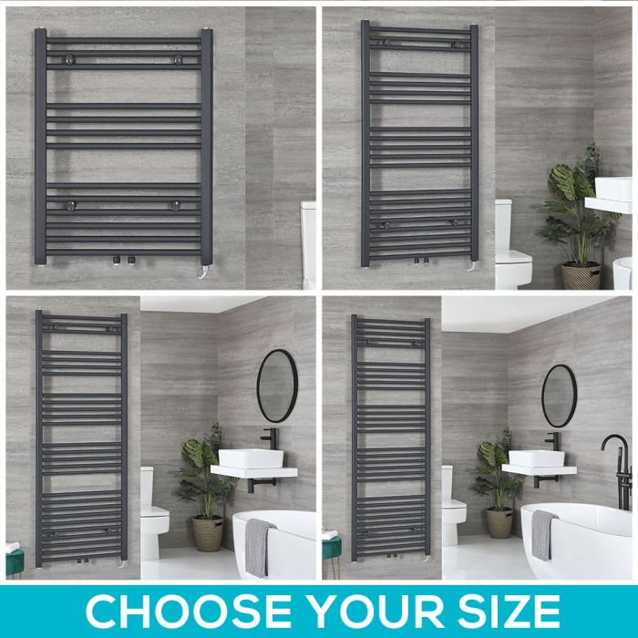 Milano Neva Electric - Anthracite Heated Towel Rail - Choice of Size
