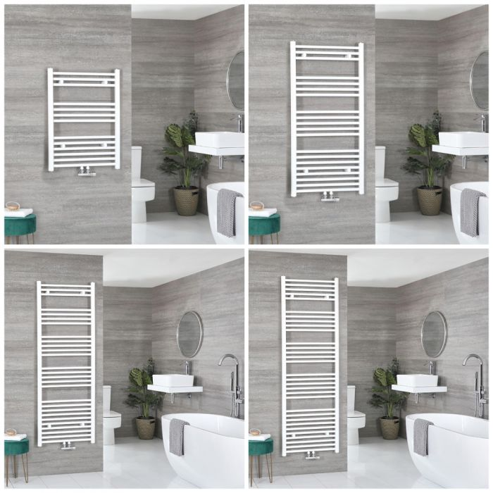 Milano Neva - White Central Connection Heated Towel Rail - Choice of Size