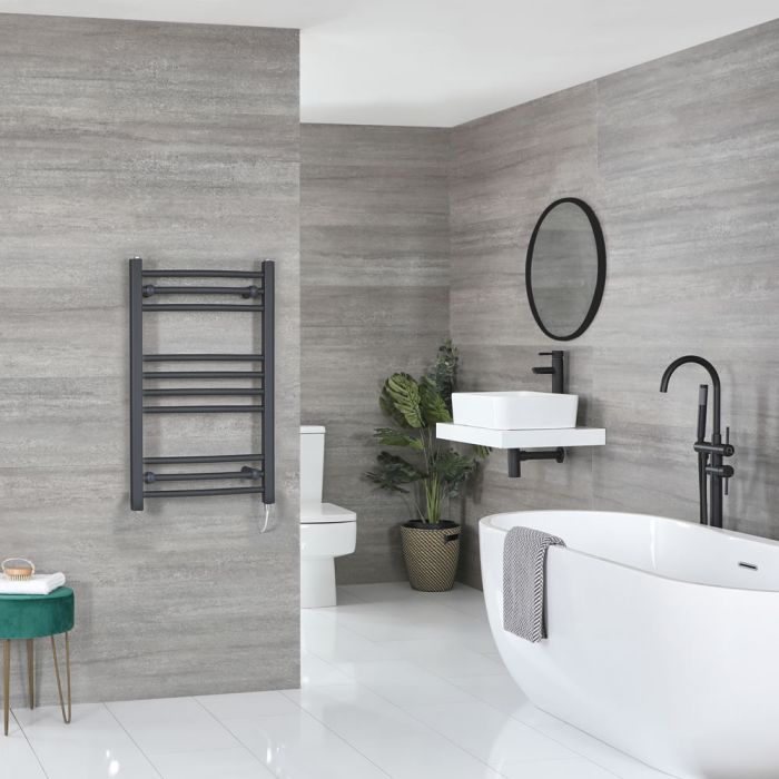 Milano Artle Electric - Anthracite Curved Heated Towel Rail - 800mm x 500mm