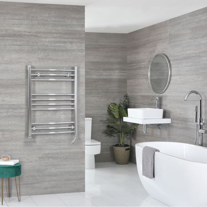 Milano Kent Electric - Chrome Curved Heated Towel Rail - 800mm x 500mm