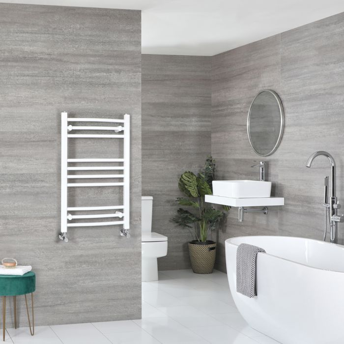 Milano Ive - White Curved Heated Towel Rail - 800mm x 500mm