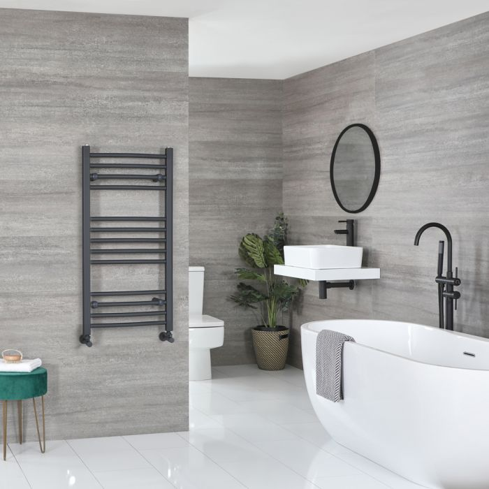 Milano Artle - Anthracite Curved Heated Towel Rail - 1000mm x 500mm