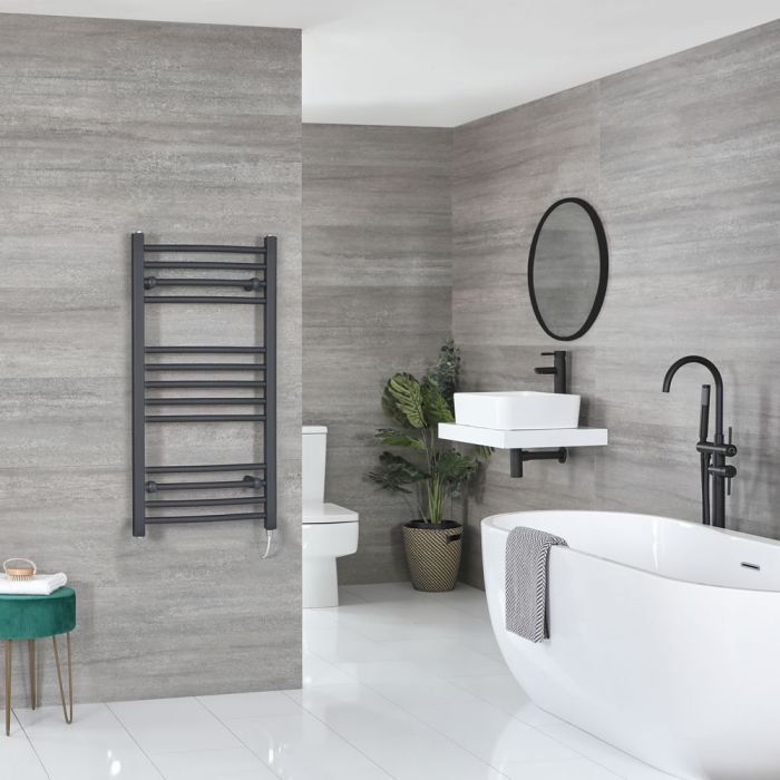 Milano Artle Electric - Anthracite Curved Heated Towel Rail - 1000mm x 500mm