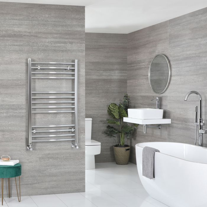 Milano Kent - Chrome Curved Heated Towel Rail - 1000mm x 500mm