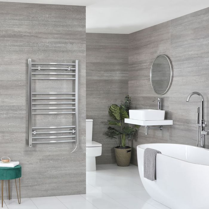 Milano Kent Electric - Chrome Curved Heated Towel Rail - 1000mm x 500mm