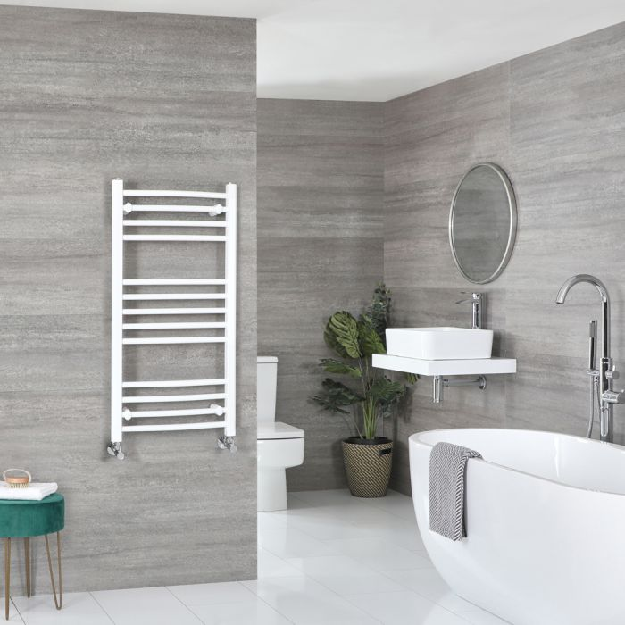 Milano Ive - White Curved Heated Towel Rail - 1000mm x 500mm
