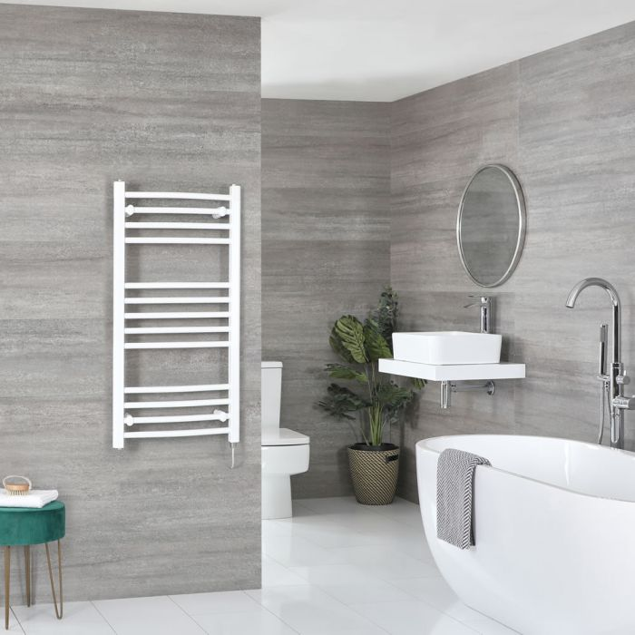 Milano Ive Electric - White Curved Heated Towel Rail - 1000mm x 500mm
