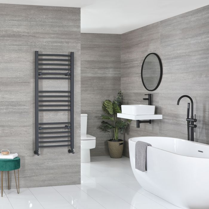 Milano Artle - Anthracite Curved Heated Towel Rail - 1200mm x 500mm