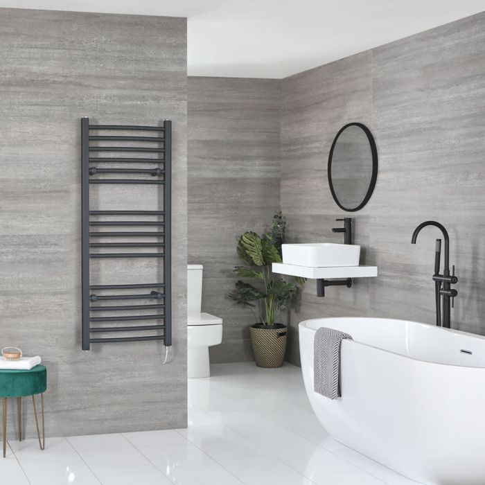 Milano Artle Electric - Anthracite Curved Heated Towel Rail - 1200mm x 500mm