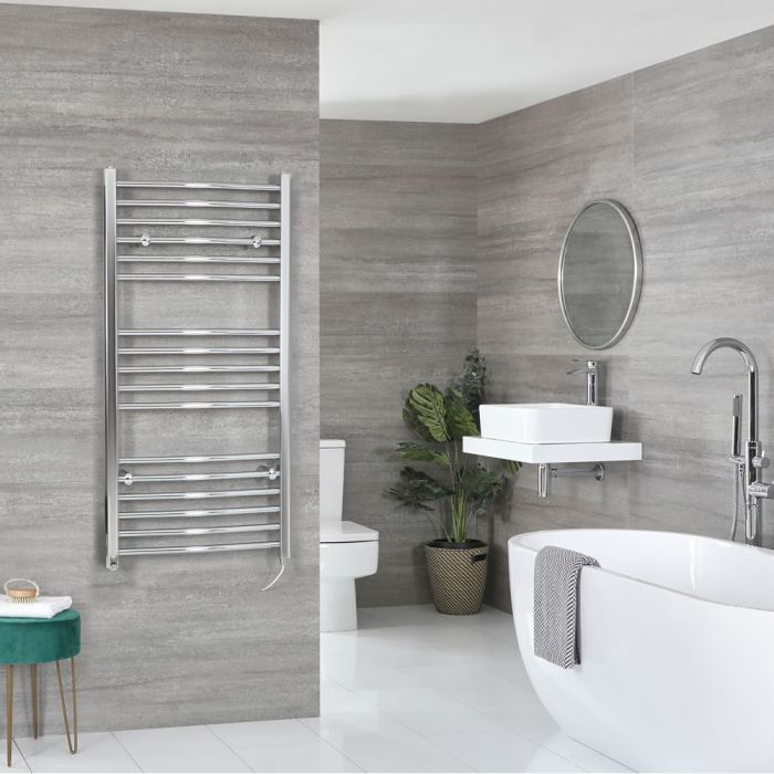 Milano Kent Electric - Chrome Curved Heated Towel Rail - 1200mm x 500mm
