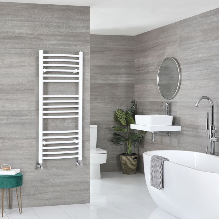 Milano Ive - White Curved Heated Towel Rail - 1200mm x 500mm
