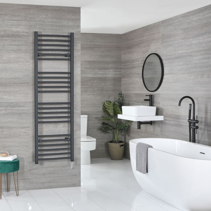 Milano Artle Electric - Anthracite Curved Heated Towel Rail - 1600mm x 500mm