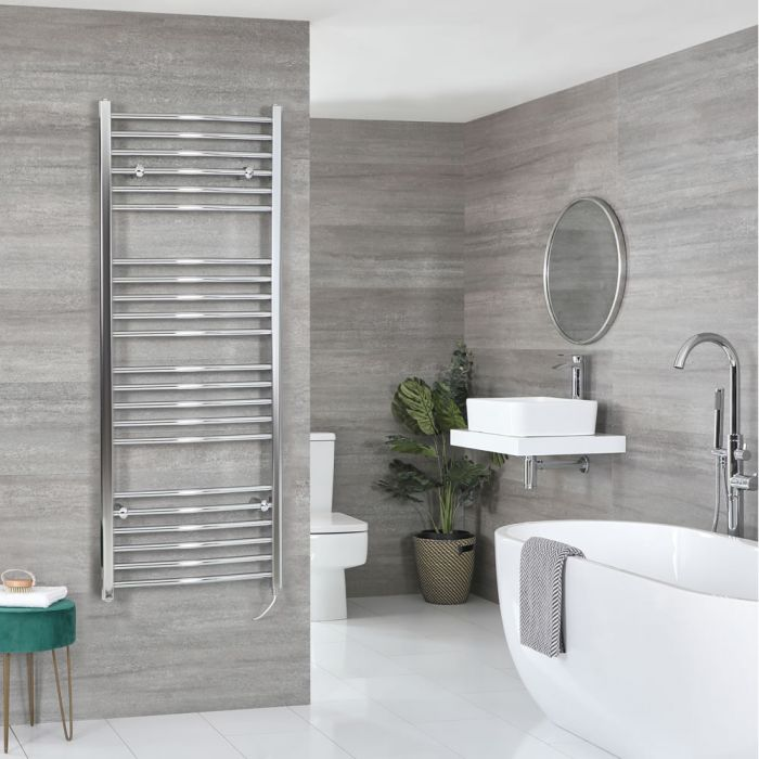Milano Kent Electric - Chrome Curved Heated Towel Rail - 1600mm x 500mm