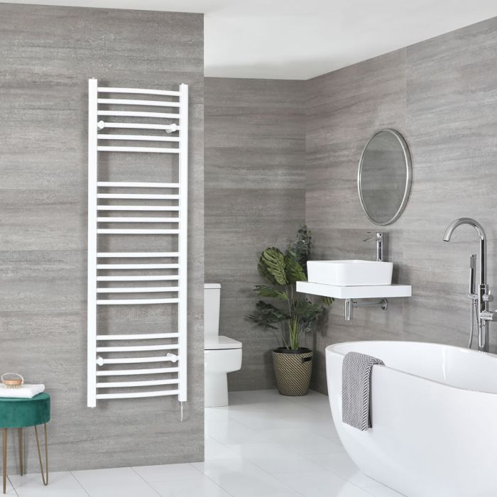 Milano Ive Electric - White Curved Heated Towel Rail - 1600mm x 500mm
